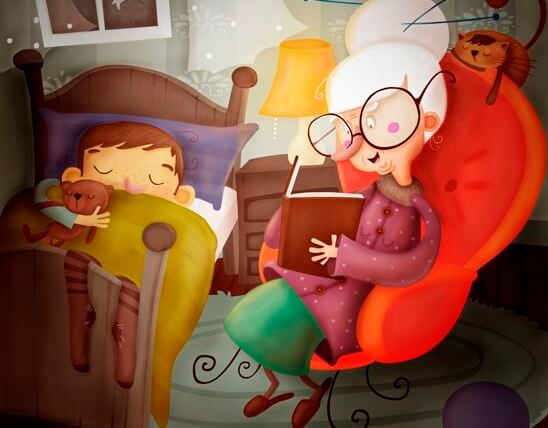 孫を寝付かせる祖父母