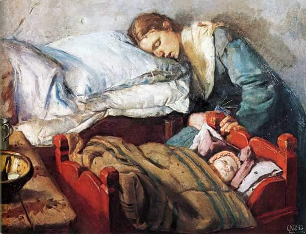 疲れた母親の絵