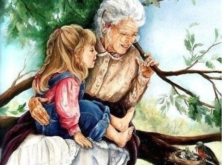 祖父母と遊ぶ孫