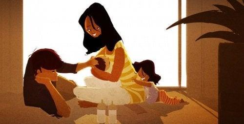 子どもたちを育てているママとパパ