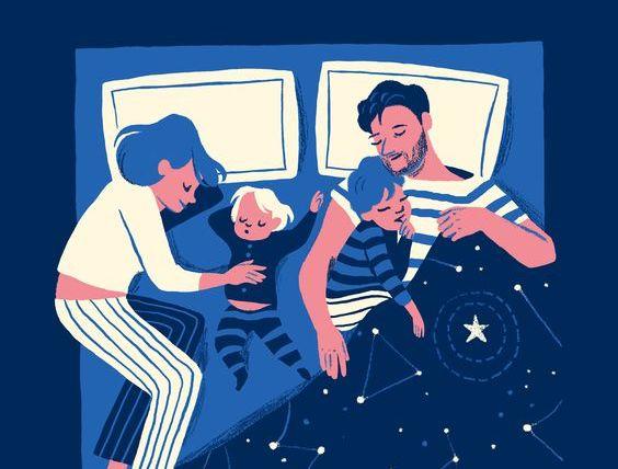 添い寝-家族