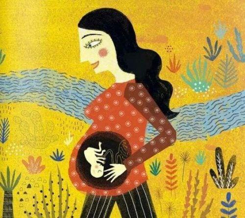 散歩をする妊婦