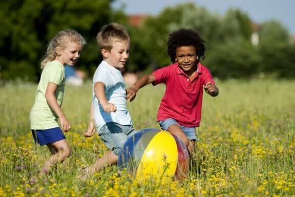 ボールで遊ぶ子供たち 動物園 夏休み